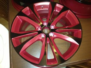 Black Powder Coated Wheels Red Insets Full Blown Coatings
