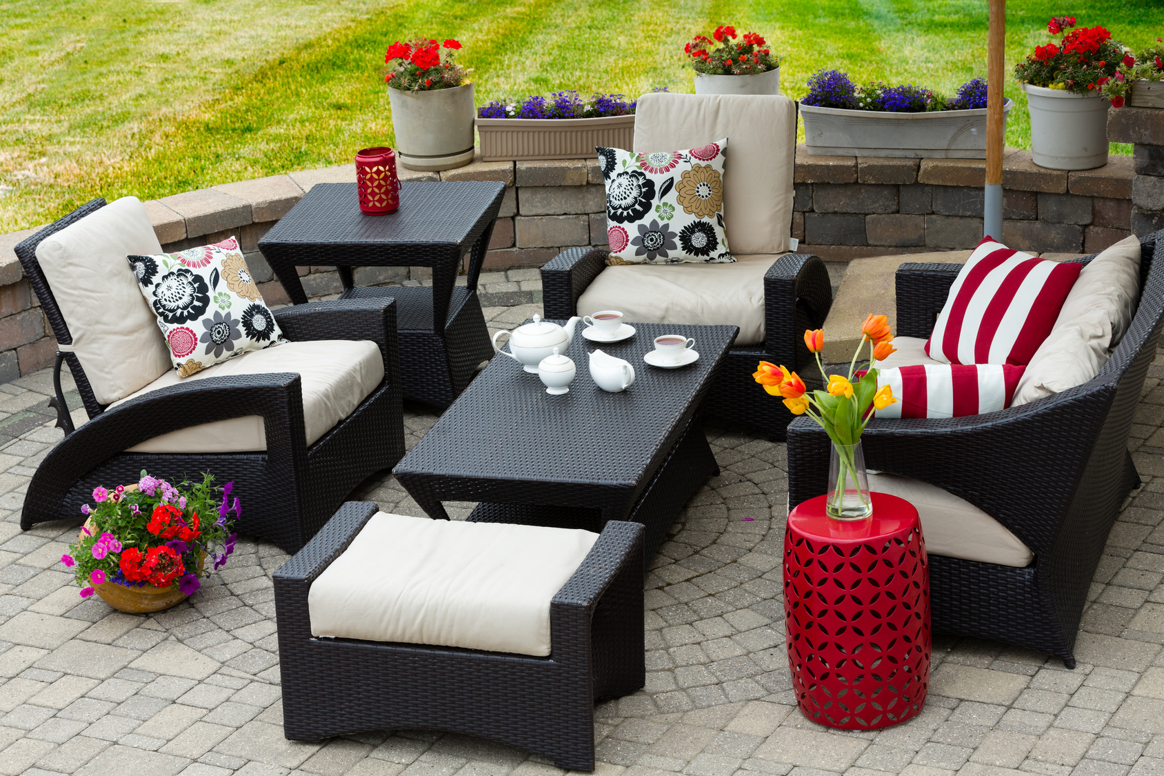 Cozy patio furniture on luxury outdoor patio full blown for Most expensive outdoor furniture