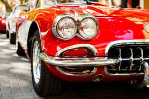 Parade of restored classic cars