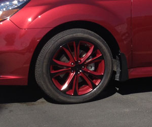 black wheels with toretto red insets and clear top coat