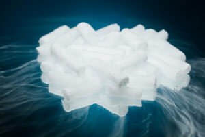 dry ice with vapour on blue background